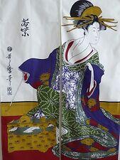 "Japanese Noren Curtain UKIYOE UTAMARO BIJIN Doorway Room Divider Tapestry/55""L"