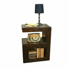 KraftNDecor Wooden Side Table Cum Living Room Cabinet In Brown Colour