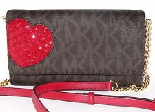 Michael Kors Jet Set Large Phone Crossbody Wallet Red Heart Brown Signature NWT