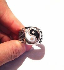 1980's Vintage Large Stainless Steel Size 14 Men's Yin Yang Ring