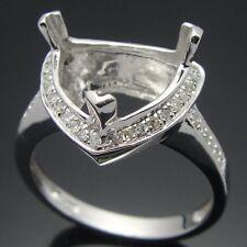 10mm Trillion solid 14k white gold diamonds Engagement Wedding semi mount ring