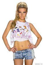 Sexy Ärmelloses  Crop Top Bauchfreies Shirt Schmetterling T-Shirt Weiß 34 36 38