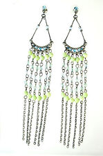 ELEGANT  LADIES SILVER LIME GREEN MULTI LAYER EARRING BRAND NEW UNIQUE (A22)