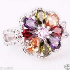 NEW size 7 Exquisite tanzanite 925 Silver Glod Filled 5ct Ring valentine's.