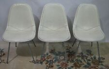 Set of Three Vintage 1960s Herman Miller DKX-1 Chairs; White Leather Seats