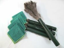 "(4) 14"" Retractable fine OSTRICH FEATHER DUSTERS 4 Polishing/ Oiling Cloths Lot"