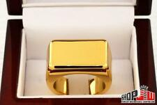 14k Triple Gold Plated Mens Ring Size 9.5 Pinky Skater Fashion Solid Yellow Box