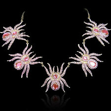 Halloween Fashion Party Five Spiders Necklace Rhinestone Crystal Pink