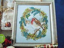 A WINTER'S MORNING CLASSIC CHRISTMAS SYMBOL CHEERY  RED ROBIN CROSS STITCH CHART