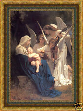 Old Master Oil Painting Antique Christian Art Virgin Child Song of Angels 30x40