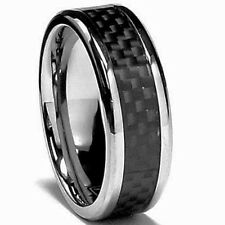 TITANIUM POLISHED RING with CARBON FIBER BAND in a size 11 - NEW- in a Gift Box!