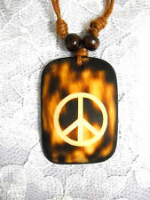 NEW RUST BROWN WASH OUT PEACE SIGN PENDANT ON BROWN ADJ NECKLACE FREE SHIPPING