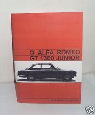 Uso e manutenzione Alfa Romeo GT 1300 Junior SCALINO cruscotto a due gobbe 70-71