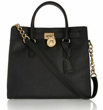 NWT MICHAEL KORS Hamilton Large Saffiano Leather Tote Handbag $358 Black/Gold