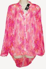 NEW Rock 47 by Wrangler Long Sleeve Hi Low Chiffon Print Blouse Shirt Medium NWT