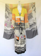 VINTAGE 1970s HANAE MORI DESIGNER SILK DRESS & SHAWL SIZE 6 MADE IN JAPAN