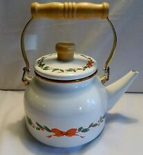 THAI FIRST ENAMEL METAL CHRISTMAS TEA POT WITH WOODEN HANDLE