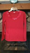 Women's Blouse Size Small Red with Satin and Sequins Very Pretty Dressy Looking