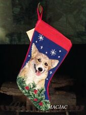 Corgi Dog Needlepoint Christmas Stocking NWT