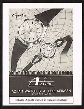1950's Small Vintage 1955 Azhar Watch Co. Gerla De Luxe - Paper Print AD