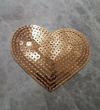 HEART PATCH SEQUIN GOLD IRON ON SEW ON BADGE