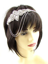 Silver Diamante Chain Headpiece Flapper Great Gatsby Headband Vintage 1920s 598