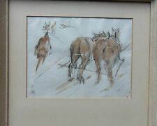 NATHANIEL HUGHES JOHN BAIRD 1865-1936 SIGNED PAINTING 'PLOUGH HORSES IN HARNESS'