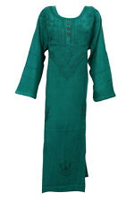 BOHO WOMEN LONG DRESS GREEN EMBROIDERED STONEWASHED EMBROIDERED MAXI DRESSES XL