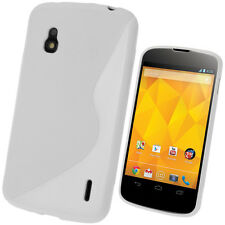 White Dual Tone TPU Gel Case for LG Google Nexus 4 E960 Android Skin Cover Shell