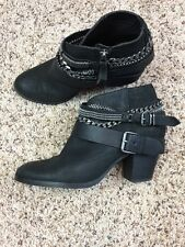 Dolce Vita Ankle Boots Black Size 8 Block Heel Chains And Buckle