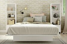 Full Queen Size Platform Bed Set w/ Bookcases Bedroom Set 3 Pc White Furniture