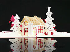KAILIZ Big Christmas House 3D Pop up Christmas Card Kirigami UK STOCK