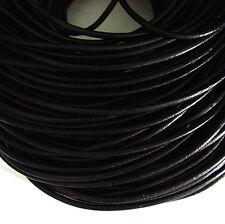 Black Genuine Leather Jewelry Cord 3mm x 5 yards