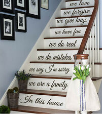 Wall Decal Quote Family In This House Staircase Stair Riser Vinyl Sticker kk480