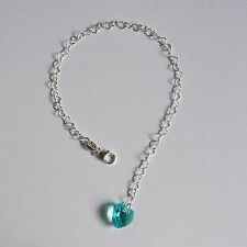 STERLING SILVER 925 Heart BRACELET Lt Turquoise SWAROVSKI Elements CRYSTAL Brida