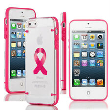 For iPhone Slim Clear TPU Hard Case Cover Breast Cancer Awareness Ribbon Color