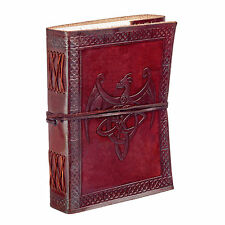Fair Trade Handmade Celtic Winged Dragon Leather Journal Notebook 2nd Quality
