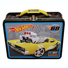 HOT WHEELS RACING CARS Metal Tin Lunch Box Treasure Storage Bag YELLOW BLACK NEW
