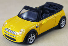2 Yellow Mini Cooper Convertibles 1:43 Die Cast Black Interior Broken Mirrors