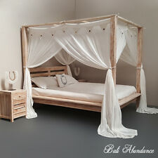 MAXI Minimalistic Four Poster Hand Carved Bed Whitewash King Size Teak Wood
