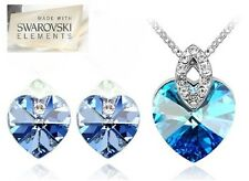 Blue Heart 18KGP Swarovski element Crystal Earring Pendant Necklace Set N166