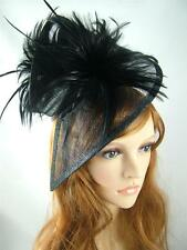 Black Sinamay & Feathers Twist Hat Fascinator - Occasion Wedding Races Funeral
