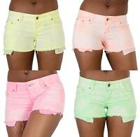 New Womens Ladies Neon Hotpant Shorts Summer Beach Denim Pants Size 6 8 10 12 14