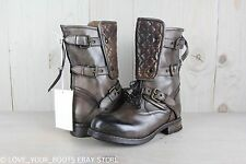 UGG COLLECTION SAVONA BROWN LEATHER QUILTED COMBAT  MOTO BOOTS US 7  NIB