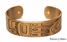 Raven and Moon Copper Plated Cuff Bracelet by Gordon White, Haida