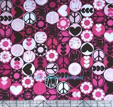 "Michael Miller ""Peace Button"" Dot Pink Fabric"