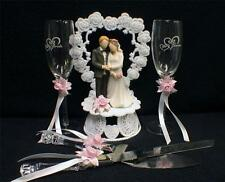 PINK Wedding Gift LOT Heart to Heart Cake Topper, Toasting Glasses, Knife Server