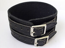 "BLACK LEATHER 2 BUCKLE WRISTBAND MENS BOYS BRACELET 1.75""  wide  LB0188"