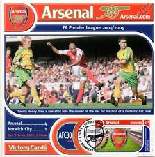 Arsenal 2004-05 Norwich (Thierry Henry) Football Stamp Victory Card #430
