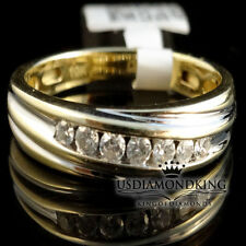 Men 10k Gold 1/4CT 100% Genuine Diamond Channel Set Wedding Engagement Band Ring